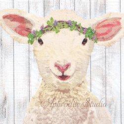 Maisie 花冠のひつじ 羊 イースター Two Can Art 1枚 バラ売り 33cm ペーパーナプキン ppd