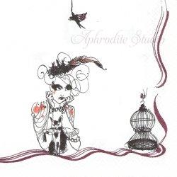 北欧 レア柄 ロールストランド Mademoiselle Oiseau マドモアゼルと黒猫 1枚 バラ売り 33cm ペーパーナプキン Rorstrand Suomen Kerta