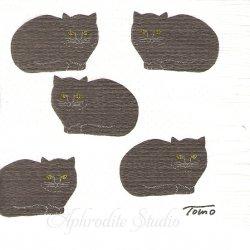 25cm トモタケ B 黒猫がいっぱい 倉敷意匠計画室 1枚 バラ売り ペーパーナプキン デコパージュ用  classiky