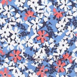 24cm 北欧 フィンレイソン AINIKKI ブルー お花 1枚 バラ売り ペーパーナプキン 紙ナプキン デコパージュ Finlayson