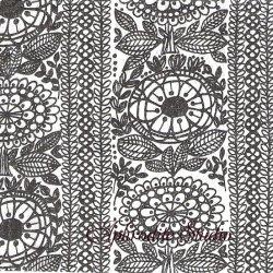 24cm 北欧 フィンレイソン TAIMI ブラック タイミ お花 和紙風 Decorated 1枚 バラ売り ペーパーナプキン Finlayson Suomen Kerta