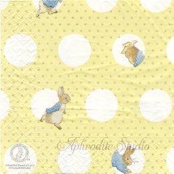 25cm ピーターラビット ドット イエロー Beatrix Potter キャラクター 1枚 バラ売り ペーパーナプキン Peter Rabbit
