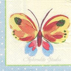 21.5cm角 Butterflies 蝶 1枚 バラ売り ミニペーパーナプキン コースター デコパージュ ULSTER WEAVERS