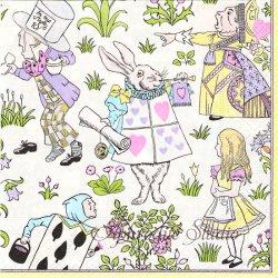 V&A ALICE IN WONDERLAND パステル 不思議の国のアリス キャラクター 1枚 ばら売り 33cm ペーパーナプキン デコパージュ用 Caspari カスパリ