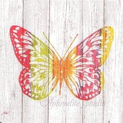 Happiness Butterfly 白木シリーズ カラフルな蝶 バタフライ 1枚 バラ売り 33cm ペーパーナプキン デコパージュ用 ppd
