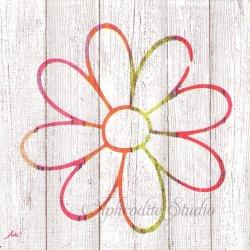 Happiness Flower 白木シリーズ カラフルな花 1枚 バラ売り 33cm ペーパーナプキン デコパージュ用 ppd