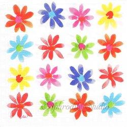 Aquarell Flowerfield 水彩のカラフルな花 1枚 バラ売り 33cm ペーパーナプキン デコパージュ用 ppd