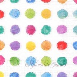 Aquarell Spots 水彩のカラフルなドット 1枚 バラ売り 33cm ペーパーナプキン デコパージュ用 ppd