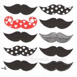 北欧 アネッコ Les Moustaches ちょび髭 Anekko Design Sweden 1枚 バラ売り 33cm ペーパーナプキン デコパージュ用 ppd