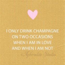 Only Champagne ゴールド 文字とピンクのハート 1枚 バラ売り 33cm ペーパーナプキン デコパージュ用 ppd