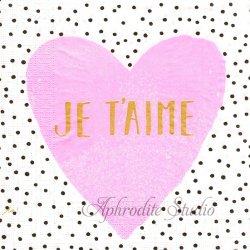 Je t'aime ジュテーム ピンクのハート Ute Krause 1枚 バラ売り 33cm ペーパーナプキン デコパージュ用 ppd