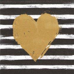 Hearts & Stripes ブラックボーダー&ゴールドハート 1枚 バラ売り 33cm ペーパーナプキン デコパージュ用 ppd