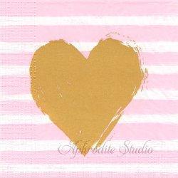 Hearts & Stripes ピンクボーダー&ゴールドハート 1枚 バラ売り 33cm ペーパーナプキン デコパージュ用 ppd