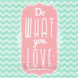 DO WHAT YOU LOVE ミントグリーン 文字 1枚 バラ売り 33cm ペーパーナプキン デコパージュ用 Ambiente