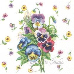 パンジーの花束 ヴィクトリアン 1枚 バラ売り 33cm ペーパーナプキン デコパージュ TETE a TETE