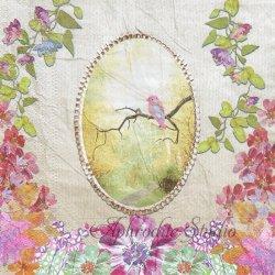 Natures Romance 花に囲まれたフレームと小鳥 1枚 バラ売り 33cm ペーパーナプキン デコパージュ Nouveau