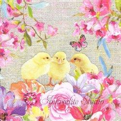 Spring Chicken ピンク 花でいっぱいのひよこ イースター 1枚 バラ売り 33cm ペーパーナプキン デコパージュ Nouveau