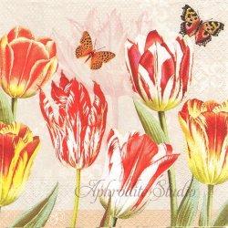 Mar de Tulipes チューリップと蝶 1枚 バラ売り 33cm ペーパーナプキン デコパージュ Nouveau