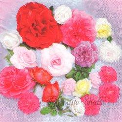 Scent of Roses 写真 色とりどりの薔薇 1枚 バラ売り 33cm ペーパーナプキン デコパージュ Nouveau