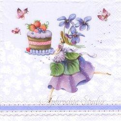 Purple Dreams パープル すみれの精 1枚 バラ売り 33cm ペーパーナプキン デコパージュ Nouveau