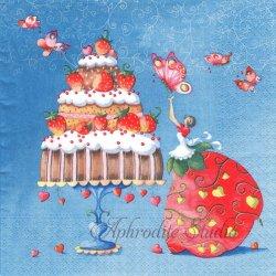 Strawberry Cake ブルー いちごの精 苺 ストロベリー 1枚 バラ売り 33cm ペーパーナプキン デコパージュ Nouveau