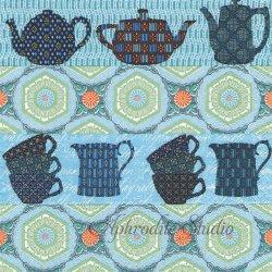 Coffee & Tea Brake ブルー ティーカップと模様 1枚 バラ売り 33cm ペーパーナプキン デコパージュ Nouveau