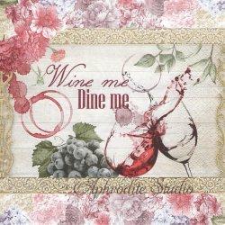 Wine me Dine me ボルドー ワインと花 1枚 バラ売り 33cm ペーパーナプキン デコパージュ Nouveau