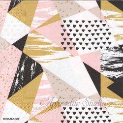 Trianglar Trend ピンク 三角模様 1枚 バラ売り 33cm ペーパーナプキン デコパージュ DOMMOS