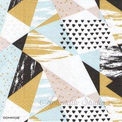 Trianglar Trend ライトブルー 三角模様 1枚 バラ売り 33cm ペーパーナプキン デコパージュ DOMMOS