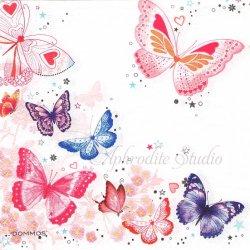 Sparkly Butterflies 蝶 バタフライ 1枚 バラ売り 33cm ペーパーナプキン デコパージュ DOMMOS