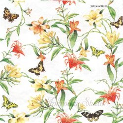 Flower Harmony イエロー&オレンジの百合の花と蝶 ヴィクトリアン 1枚 バラ売り 33cm ペーパーナプキン デコパージュ DOMMOS