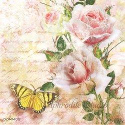 Tranquility フレスコ画のような薔薇 ヴィクトリアン 1枚 バラ売り 33cm ペーパーナプキン DOMMOS