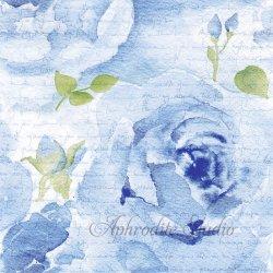 Rosa Delicada ブルー 水彩の淡い薔薇 1枚 バラ売り 33cm ペーパーナプキン デコパージュ ti-flair