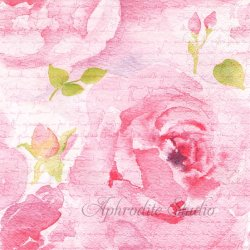 Rosa Delicada ピンク 水彩の淡い薔薇 1枚 バラ売り 33cm ペーパーナプキン デコパージュ ti-flair