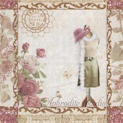 Mannequin ブティックのマネキン ボルドー ヴィクトリアン 1枚 バラ売り 33cm ペーパーナプキン デコパージュ Nouveau