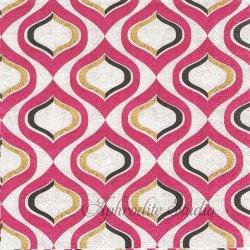 北欧柄 Pattern Rhodamine パープル デザイン模様 1枚 バラ売り 33cm ペーパーナプキン デコパージュ Nouveau