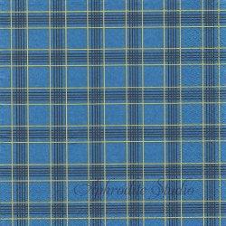 Checkered Blue ブルー チェック模様 1枚 バラ売り 33cm ペーパーナプキン デコパージュ Nouveau