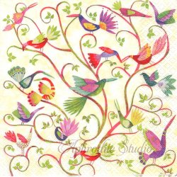 Vogelzauber カラフルな小鳥とつた Aurelie Blanz 1枚 バラ売り 33cm ペーパーナプキン デコパージュ gratz VERLAG