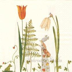 mit Farn-Fraulein チューリップの花の下で Silke Leffler 1枚 バラ売り 33cm ペーパーナプキン デコパージュ gratz VERLAG