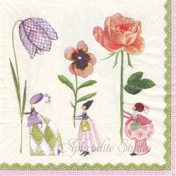 Blumenfrauen 花の精 Silke Leffler 1枚 バラ売り 33cm ペーパーナプキン デコパージュ gratz VERLAG