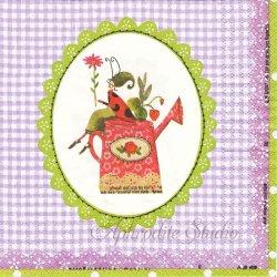 Mon petit Jardin パープルギンガム 薔薇のジョウロと苺 Silke Leffler 1枚 バラ売り 33cm ペーパーナプキン デコパージュ gratz VERLAG