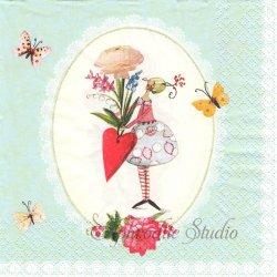 Blumenzauber ハートと花のプレゼント Silke Leffler 1枚 バラ売り 33cm ペーパーナプキン デコパージュ gratz VERLAG