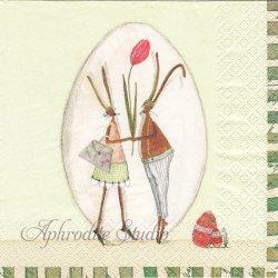 チューリップとうさぎ イースター ラビット バニー Silke Leffler 1枚 バラ売り 33cm ペーパーナプキン デコパージュ gratz VERLAG