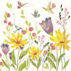 Blutenpoesie 明るい春のお花畑 Aurelie Blanz 1枚 バラ売り 33cm ペーパーナプキン デコパージュ gratz VERLAG