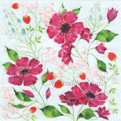 Blutenromantik 苺とパープルのお花 ストロベリー Aurelie Blanz 1枚 バラ売り 33cm ペーパーナプキン デコパージュ gratz VERLAG