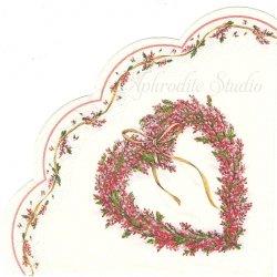 34cm 廃盤 SWEET COUNTRY HOME ラベンダーのハートリース 1枚 バラ売り サークル スカラップ型ペーパーナプキン デコパージュ用  Ihr