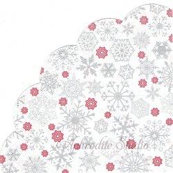 33cm シルバースノーフレーク 雪の結晶 1枚 バラ売り サークル スカラップ型ペーパーナプキン デコパージュ用  Maki