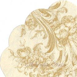 32cm 廃番 エンボス加工 クリーム 野薔薇のトワル柄 1枚 バラ売り サークル スカラップ型ペーパーナプキン デコパージュ用 Paw