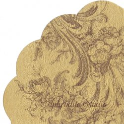 32cm 廃番 エンボス加工 ゴールド 野薔薇のトワル柄 1枚 バラ売り サークル スカラップ型ペーパーナプキン デコパージュ用 Paw