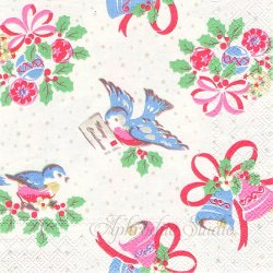 25cm 廃盤 キャス・キッドソン CHRISTMAS BIRD ホワイト クリスマスバード 小鳥 1枚 バラ売り ペーパーナプキン Cath Kidston Ihr